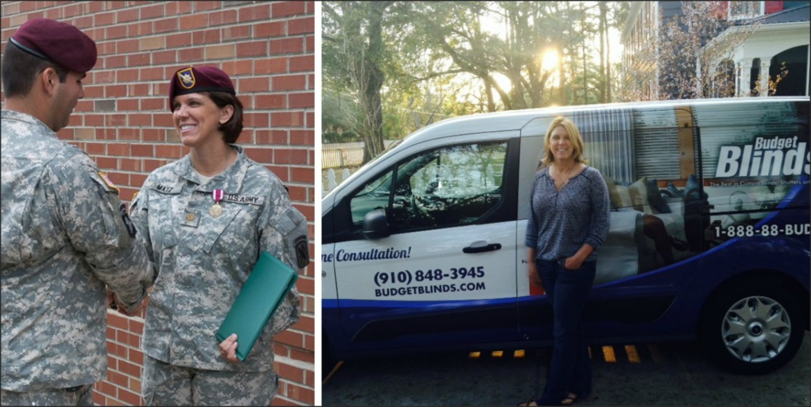 Leadership skills that Terry Matz acquired in the Army now serve her well as an independent franchise business owner of Budget Blinds Serving Southern Pines
