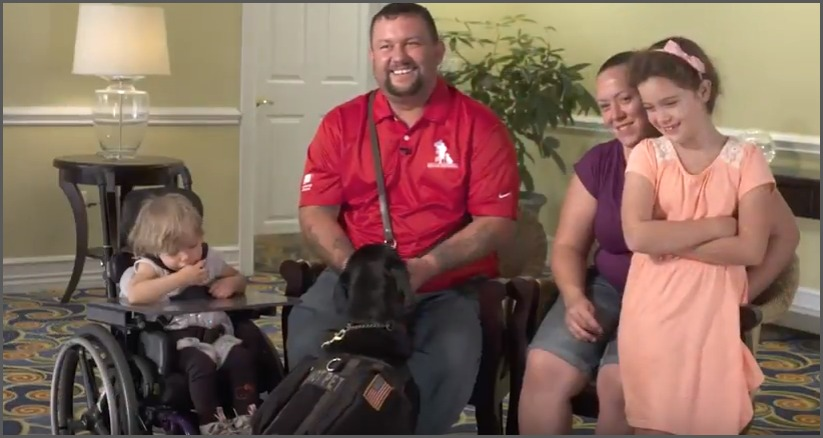 LCpl Adams, Britiany, Neveah, Cecelia and JW, his trusted companion service dog from K9 for Warriors