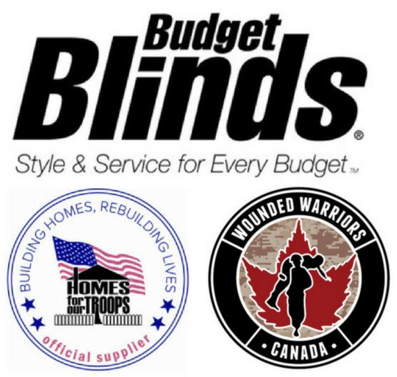 Budget Blinds, Homes for Our Troops and Wounded Warriors Canada logos